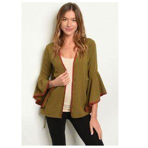NWT Long Bell Sleeve Olive Kimono Cardigan Jacket